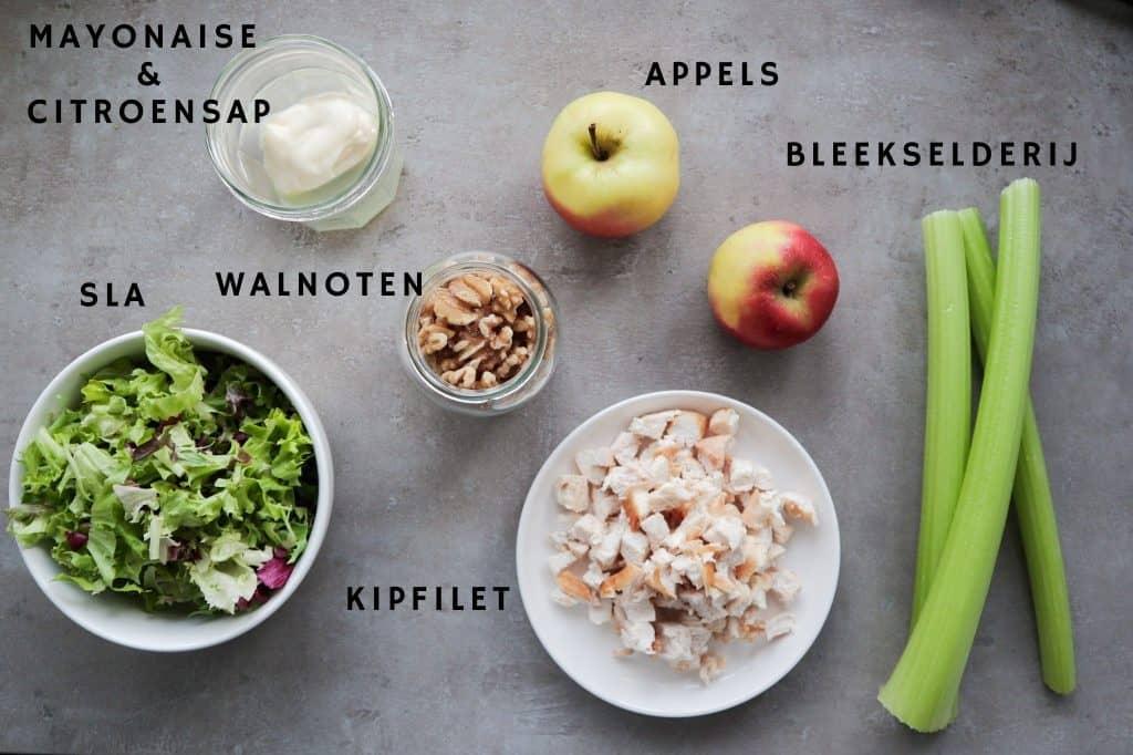 Ingredienten van de Waldorf salade