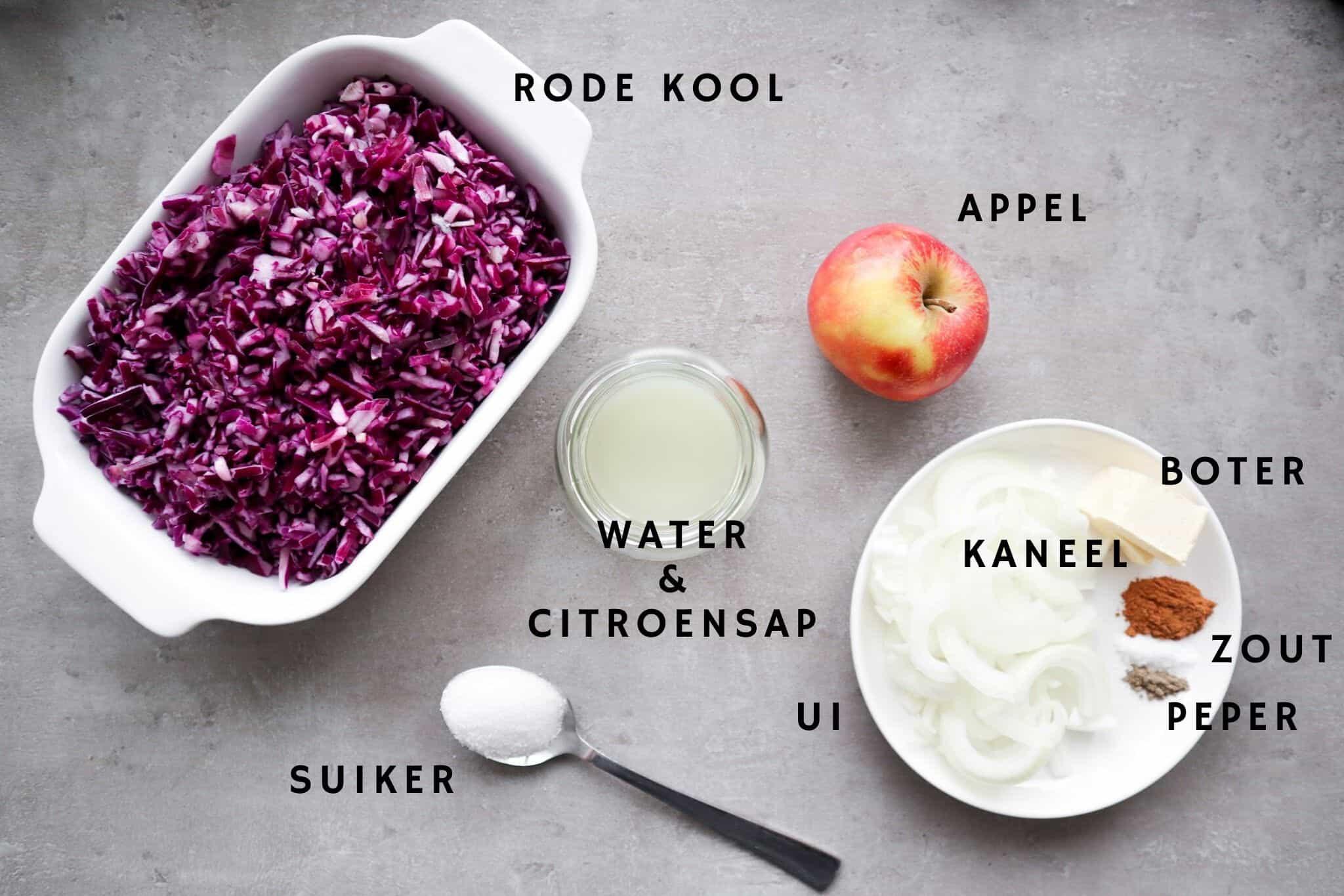 Ingredienten voor rode kool met appel