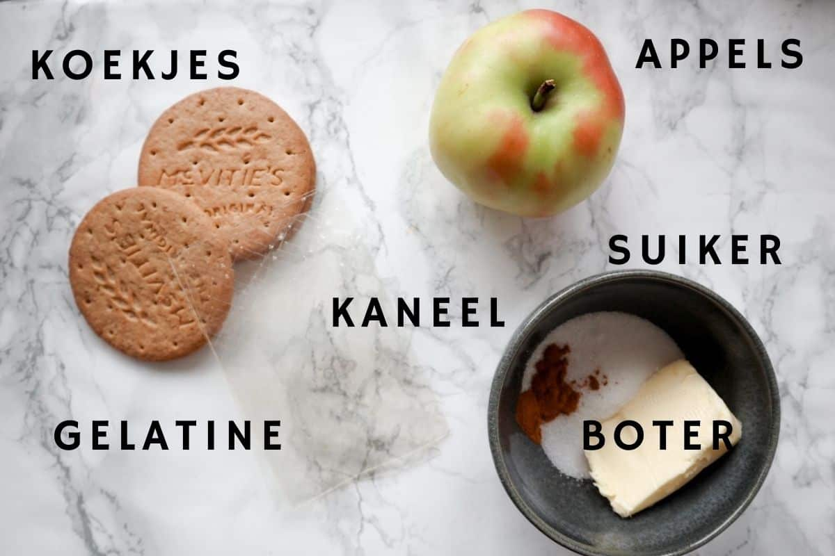 Ingrediënten voor no bake appeltaart