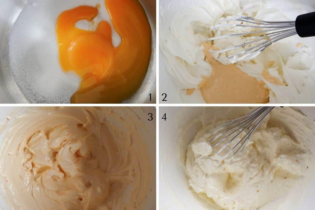 Stap 1-4 van het maken van tiramisu