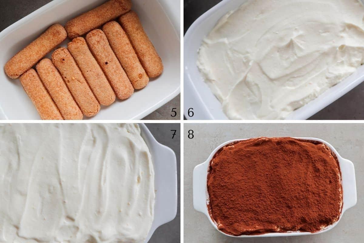 stap 5-8 van het maken van tiramisu